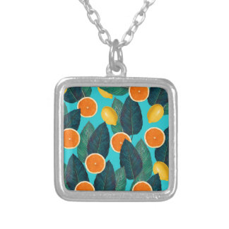 lemons and oranges teal silver plated necklace