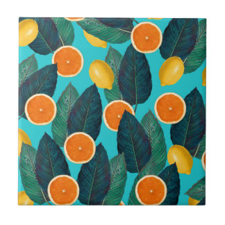 lemons and oranges teal tile