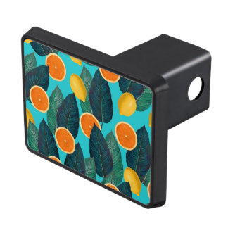 lemons and oranges teal trailer hitch cover