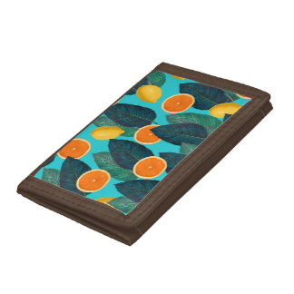 lemons and oranges teal tri-fold wallets
