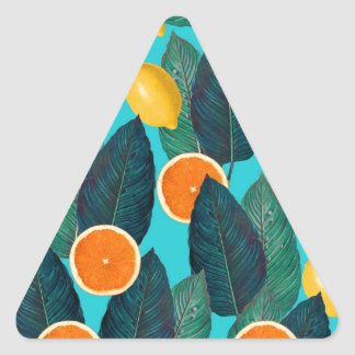 lemons and oranges teal triangle sticker