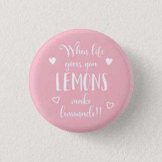 Lemons Attitude Success Dreams Motivational Quote 1 Inch Round Button
