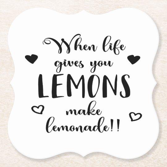 Lemons Attitude Success Dreams Motivational Quote Paper Coaster