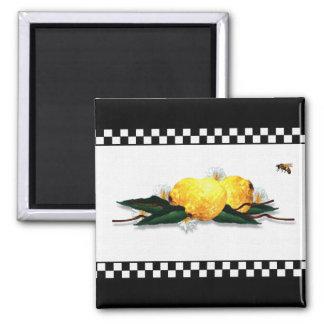 Lemons Black and White Checkered Magnet
