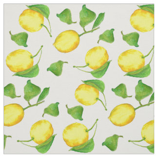 Lemons Citrus Fruit Watercolor Fabric