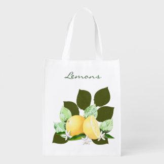 Lemons Citrus Fruits Botanical Garden Reusable Grocery Bag