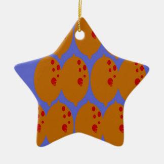 Lemons gold on blue ceramic ornament