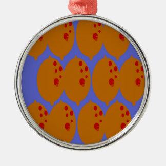 Lemons gold on blue metal ornament