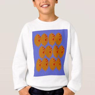 Lemons gold on blue sweatshirt