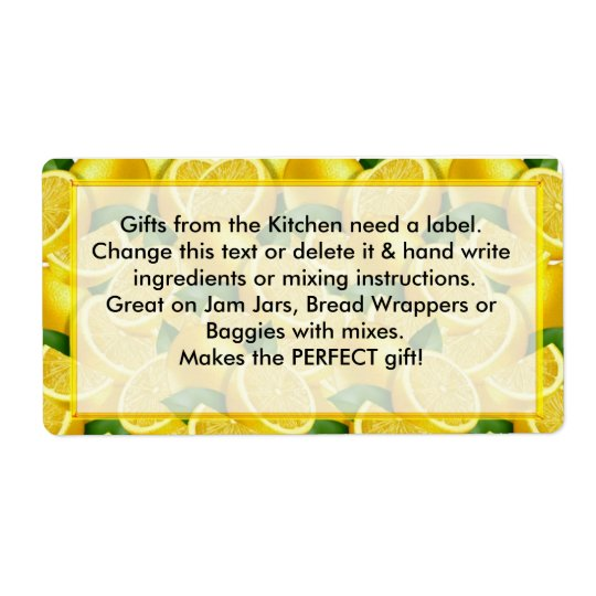 Lemons Labels Gifts from the Kitchen need labels