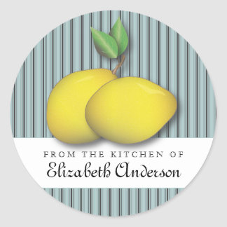 Lemons on Blue Baking Chic From the Kitchen Label Round Sticker