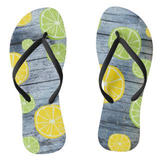 Lemons on Wood Board Flip Flops