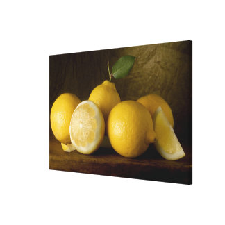 lemons on wood canvas print