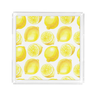 Lemons pattern design acrylic tray
