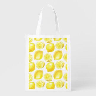 Lemons pattern design reusable grocery bag