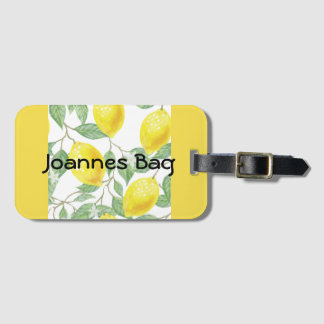 Lemons personalised yellow luggage tag