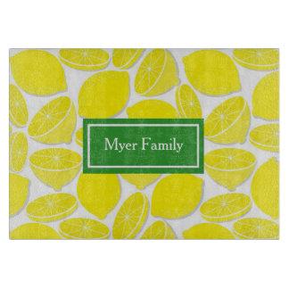 Lemons Personalized Glass Cutting Board