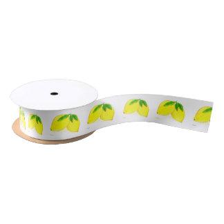Lemons print Yellow Fruits Satin Ribbon