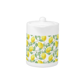 Lemons Theme Teapot in yellow and green
