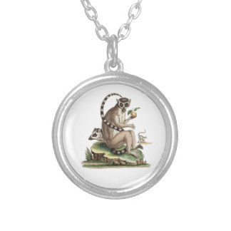 Lemur Artwork Silver Plated Necklace