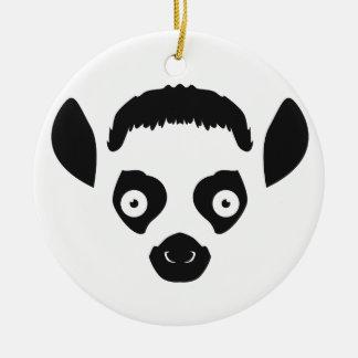 Lemur Face Silhouette Ceramic Ornament