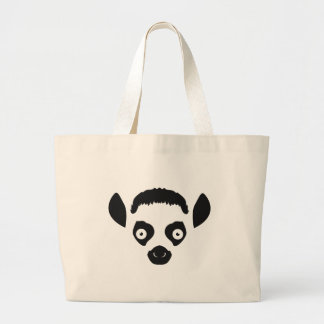 Lemur Face Silhouette Large Tote Bag