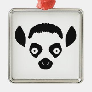 Lemur Face Silhouette Metal Ornament