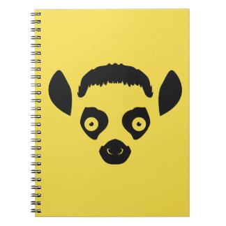 Lemur Face Silhouette Spiral Notebooks
