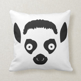 Lemur Face Silhouette Throw Pillow