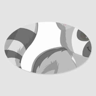 Lemur Oval Sticker