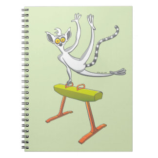 Lemur performing on a pommel horse spiral notebooks