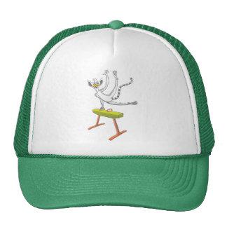 Lemur performing on a pommel horse trucker hat