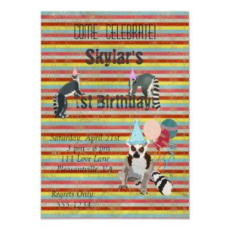 Lemurs Birthday Fun Stripes Invitation