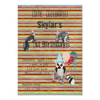 "Lemurs Birthday Fun Stripes Invitation 5"" X 7"" Invitation Card"