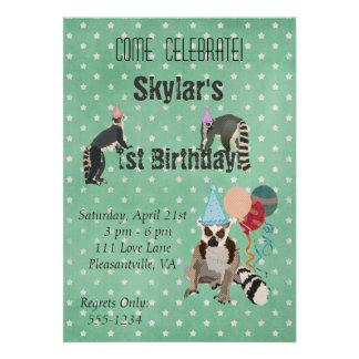 Lemurs Birthday Star Invitation