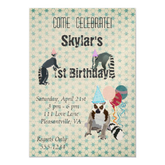 Lemurs Birthday Vintage Invitation