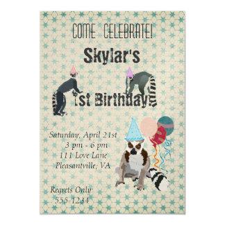 Lemurs Birthday Vintage Invitation