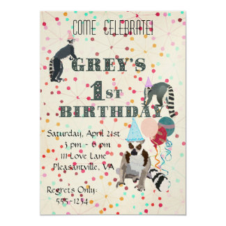 Lemurs Fun Abstract Birthday Invitation
