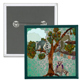 Lemurs Kings Of The Forest Green Damask Button