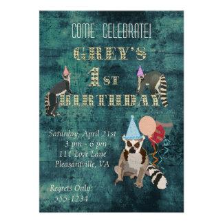 Lemurs Navy Birthday Invitation