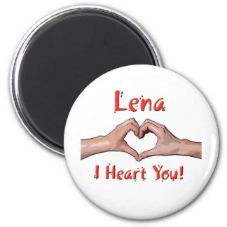 Lena - I Heart You! 2 Inch Round Magnet