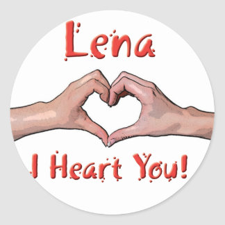 Lena - I Heart You! Round Sticker