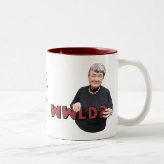 Leni Brand Wisdom - WWLD? Two-Tone Coffee Mug