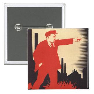 Lenin 2 Inch Square Button