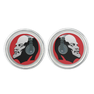 LENIN WITH HEADPHONES (RED AND GRAY) Cufflinks