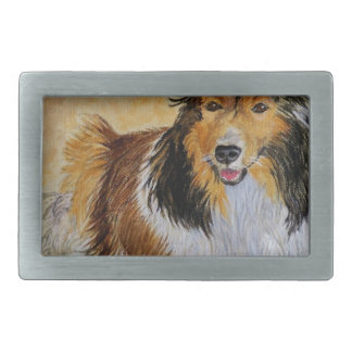 Lennie the Sheltie Rectangular Belt Buckle