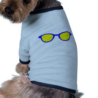 Lentille bleue de jaune de jante de lunettes de so tee-shirt pour toutou