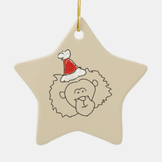 Leo Christmas Funny Astrology Red Star Cool Ceramic Ornament