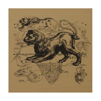 Leo Constellation Map Hevelius circa 1690 Wood Print