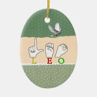 LEO FINGERSPELLED ASL NAME SIGN CERAMIC ORNAMENT